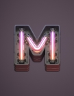 M: Modern funky, cool neon glowing light effect, monogram college ruled composition notebook for all - men, women, girls Cover Image