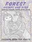 Forest Animal and Bird - Coloring Book for adults - Gazella, Possum, Bunny, Bear, other Cover Image