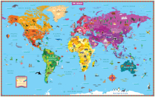 Kids' Illustrated World Wall Map Folded Cover Image
