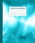 Composition Notebook: Turquoise Blue Watercolor Ombre Cover Wide Ruled Cover Image