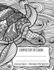Composition Notebook: Sea Turtle Ocean Waves Coloring Book Style Cover Cover Image