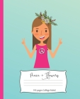 Peace + Flowers: 7.5 x 9.25 Inch 110 page College Ruled Composition Notebook for Hippy Girls and Women Cover Image