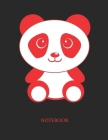 Cute Panda Notebook: College Wide Ruled Notebook - Large (8.5 x 11 inches) - 110 Numbered Pages - Red Softcover Cover Image