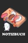 Notizbuch: A5 Journal 120 Seiten Liniert Lustig Geschenk mit Asiatisch Sushi Nahrung Maki Hoso-Maki Nigiri Sashimi Comic Cover Image