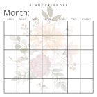 Blank Calendar: Pretty Flowers, Undated Planner for Organizing, Tasks, Goals, Scheduling, DIY Calendar Book Cover Image