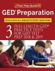 GED Preparation 2018 & 2019 All Subjects Study Questions: Three FullLength Practice Tests for GED Test Prep 2018 & 2019 (Test Prep Books) Cover Image