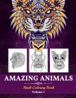 Amazing Animals Adult Coloring Book Cover Image