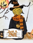 Just A Basic Witch: Funny Halloween Notebook - Trumpkin With Hooded Outfit, Witchcraft Hat, Scarf, Magic Stick & Black Cat - 8.5