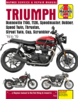 Triumph Bonneville T100, T120, Speedmaster, Bobber, Speed Twin, Thruxton, Street Twin, Cup & Scrambler 900 & 1200, '16-'19: Covers models with water-cooled engines (Haynes Repair Manual) Cover Image