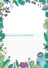 Drawing and Line Notebook: Dual Design Half Wide Ruled and Half Blank on the same page for Creative Sketchbook Drawing or Doodling & Writing Jour Cover Image
