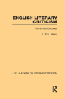 English Literary Criticism: 17th & 18th Centuries Cover Image