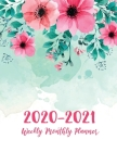 2 Year Daily Weekly Planner: Floral Watercolor Cover - 2020-2021 Daily Weekly Monthly Planner - 24 Months Agenda Planner Jan 2020 - Dec 2021 with H Cover Image