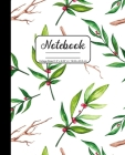 Notebook College Ruled 7.5 x 9.25 in / 19.05 x 23.5 cm: Composition Book, Winter Watercolor Red and Green Holly Leaves Cover, C781 Cover Image