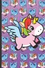 Daily and Weekly Chore Chart Notebook for Kids: Flying Unicorn on a Faded Pink to Purple Background with Narwhals and Unicorns on the Cover. Cover Image
