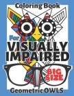 Visually Impaired Coloring Book: Geometric Owls, Large Print, Easy, for Adults, Kids, Seniors, Teens, Thick Lines Cover Image