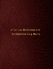 Aviation Maintenance Technician Log Book: AMT Aircraft mechanic logbook for aircaft repairs and mechanical work - Red leather print design Cover Image