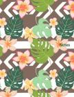 Notes: Tropical print cover - large 8 1/2 by 11 inch wide ruled notebook - Wonderful gift idea Cover Image