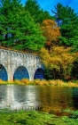 Notebook: Fall Bridge Water Autumn Blue Sky Nature Cover Image