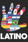 Latino: Checkered pages latino notebook in the shape of a hand with all flags from south america, central america and caribbea Cover Image