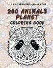 200 Animals Planet - Coloring Book - Elk, Mink, Rhinoceros, Cougar, other Cover Image