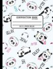 Composition Book Cute Panda Wide Ruled: Back to School Quad Composition Book for Teachers, Students, Kids and Teens Cover Image