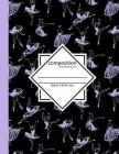 Composition Notebook Graph Paper 4x4: Dance Ballet Black & Purple Writing Notebook in Dance Poses for Dance Class (8.5 x11 in & 110 Pages) Cover Image