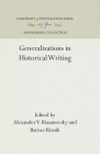 Generalizations in Historical Writing (Anniversary Collection) Cover Image