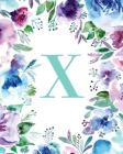 X: Watercolor Floral, 150 Pages, 8