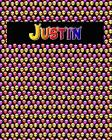 120 Page Handwriting Practice Book with Colorful Alien Cover Justin: Primary Grades Handwriting Book Cover Image