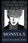 Monsta X Adult Coloring Book: Famous Korean K-pop Boy Group and Prodigy Millennial Singers Inspired Coloring Book for Adults Cover Image