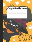 Composition Notebook: Orange Halloween & Black Cat Themes Style, 8.5
