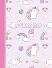 Address Book: Cute Unicorns Girls Address Book 8.5 x 11inch Large Alphabetical Contacts Phone Book Organizer Cover Image