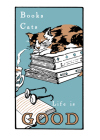 Books and Cats (Boxed): Boxed Set of 6 Cards Cover Image