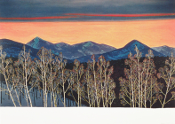 Mountain Sunset Deluxe Boxed Holiday Cards Cover Image