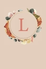 L: Peach Monogram Sketchbook - 110 Sketchbook Pages (6 x 9) - Floral Watercolor Monogram Sketch Notebook - Personalized I Cover Image