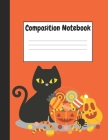 Composition Notebook: Halloween Black Cat Themes Style, 8.5