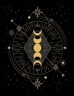 Black Notebook: Black Paper Moon Phase Galaxy Blank Notebook Pad for Drawing, Doodling or Sketching - 8.5