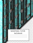 Hexagonal paper notebook: White 8-bit art with turquoise computer glitch, large 8.5 x 11