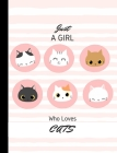 Just A Girl Who Loves Cats: Colorful Cats Wide Ruled Composition Notebook for girls Cover Image