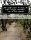 200 Subtraction Worksheets with 4-Digit Minuends, 2-Digit Subtrahends: Math Practice Workbook Cover Image
