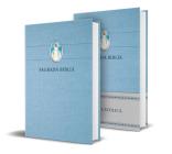 Biblia Católica en español. Tapa dura azul, con Virgen Milagrosa en cubierta / Catholic Bible. Spanish-Language, Hardcover, Blue, Compact Cover Image