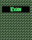 120 Page Handwriting Practice Book with Green Alien Cover Evan: Primary Grades Handwriting Book Cover Image