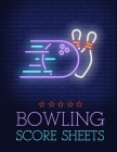 Bowling Score Sheet: Bowling Game Record Book - 118 Pages - Purple Ball Striking Design Cover Image
