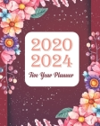 2020-2024 Five Year Planner: Red Floral Cover, Monthly Schedule Organizer, 60 Month Calendar Planner Agenda with Holidays Cover Image