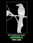 Adult Coloring Book for Men - Animals - Thick Lines Cover Image