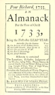Poor Richard, 1733 an Almanack: For the Year of Christ 1733 Cover Image