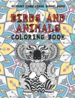 Birds and Animals - Coloring Book - Elephant, Llama, Lizard, Bobcat, other Cover Image