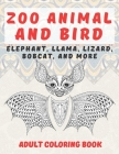 Zoo Animal and Bird - Adult Coloring Book - Elephant, Llama, Lizard, Bobcat, and more Cover Image