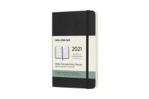Moleskine 2021 Weekly Horizontal Planner, 12M, Pocket, Black, Soft Cover (3.5 x 5.5) Cover Image