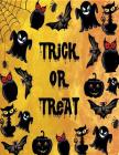 Trick or treat: Trick or treat on yellow cover and Dot Graph Line Sketch pages, Extra large (8.5 x 11) inches, 110 pages, White paper, Cover Image